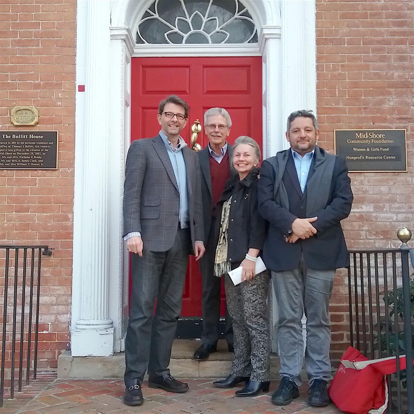 From left are Jeffrey Parker, Mid-Atlantic Symphony Orchestra vice president; Buck Duncan, Mid-Shore Community Foundation president; Valerie Mazur, MSO Easton-area vice president; and Julien Benichou, MSO music director