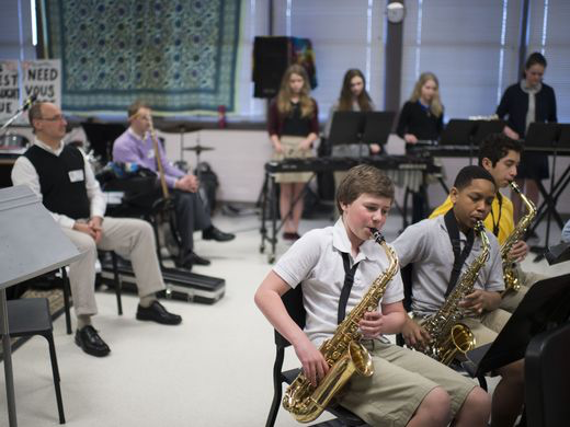 Southern Delaware School of the Arts students play a piece after a workshop with the Mid-Atlantic Symphony Orchestra Tuesday, March 17 in Selbyville.