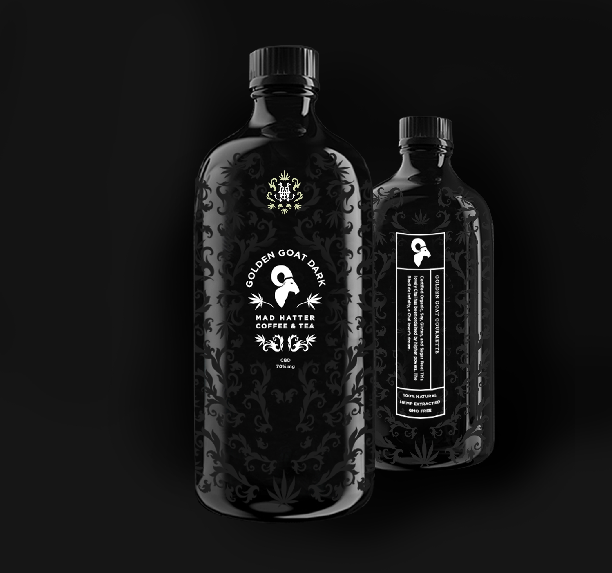 COLD BREW - The cold brew packaging gave me an opportunity to apply the Mad Hatter brand on a glass bottle. The pattern used throughout is easily applicable to various shapes and mediums. The information required on the packaging is applied vertically on the back using the length of the bottle. This method is carried over on all cylindrical forms.