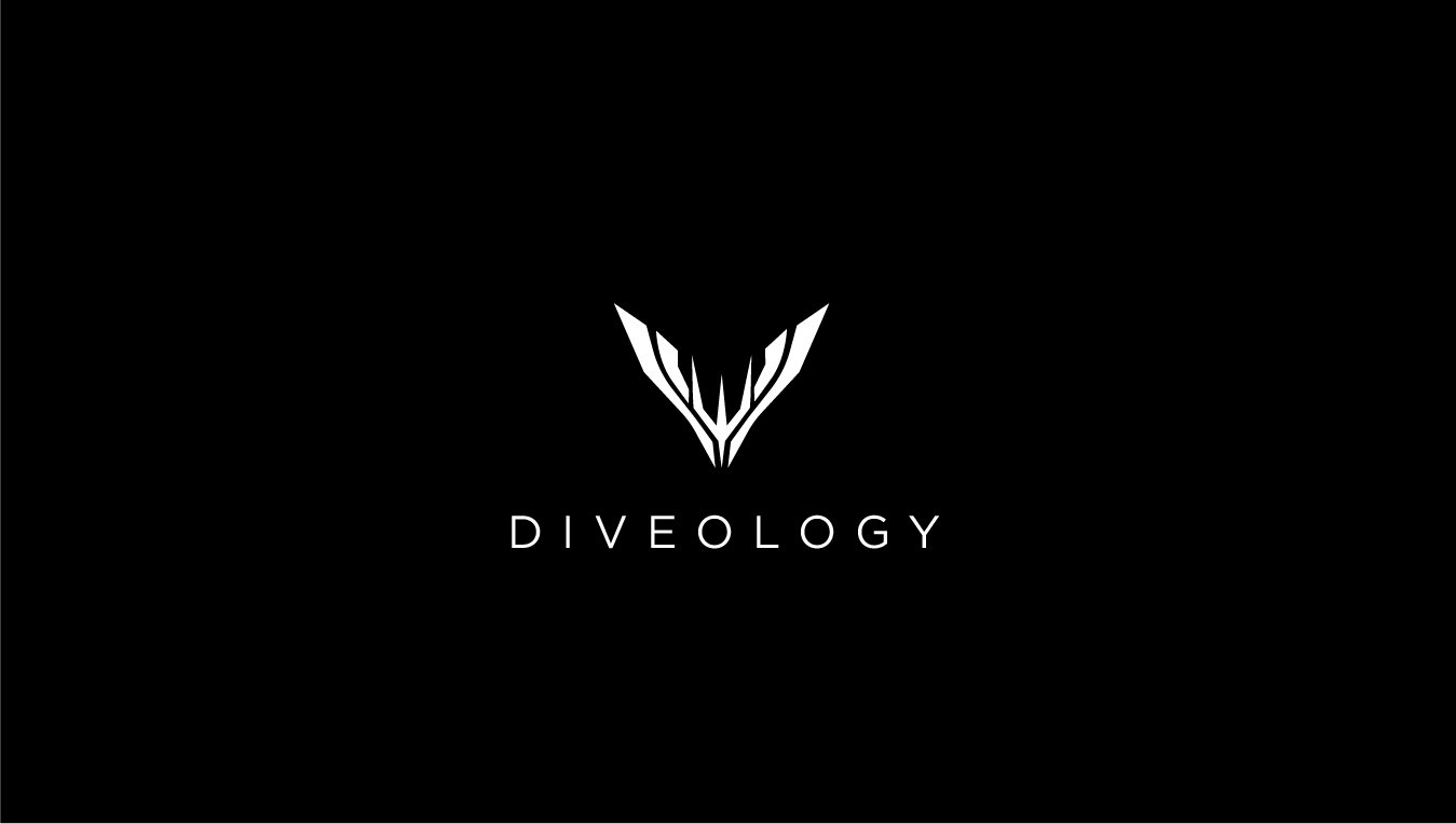 LOGO - I wanted the Diveology logo to be sleek and athletic looking as it is representing an underwater sport. I used the concept of a fin or whales tail to create the shape you see to the right. The fin shape also act as a downward pointing arrow as freediving consists of diving straight down. The center of the logo has a trident to further represent the sea and those who attempt to master its waters.