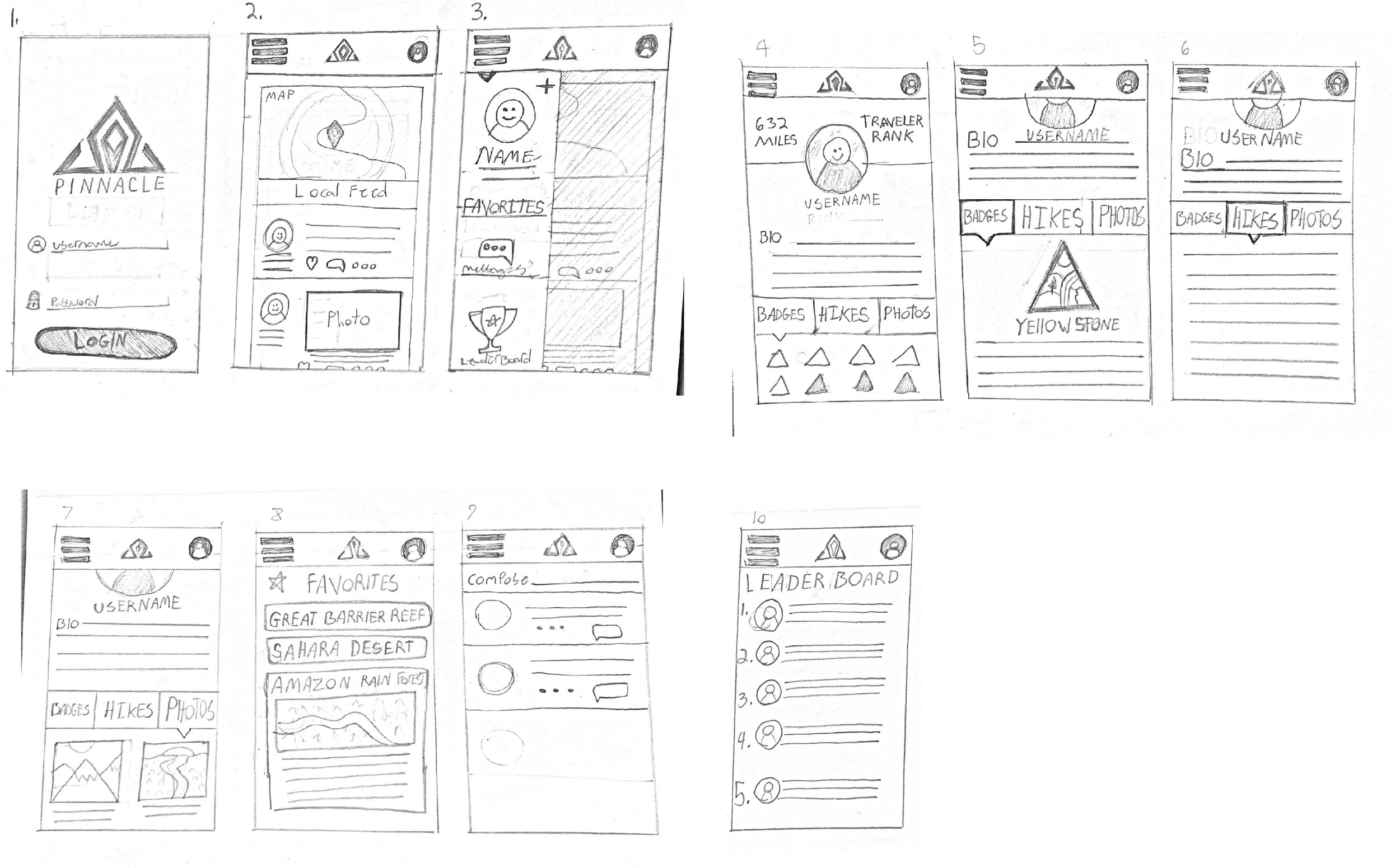 - Once the concept was thought out the process of design was started with very rough sketches. This was to get the initial idea of where things should go before we even jump into wireframes.