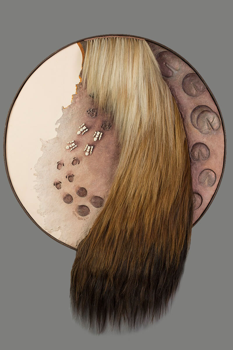 """""""The Horse; Evolutionary Tracks""""  Acrylic, horse hair, and modeling paste   38"""" diameter   Private Collection"""