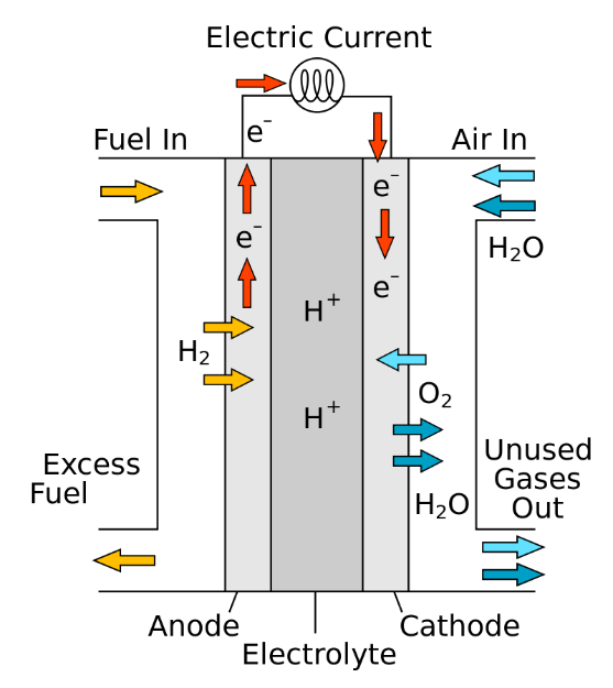 Figure 1 Scheme of a proton-conducting fuel cell. Image referred from:  https://en.wikipedia.org/wiki/Fuel_cell