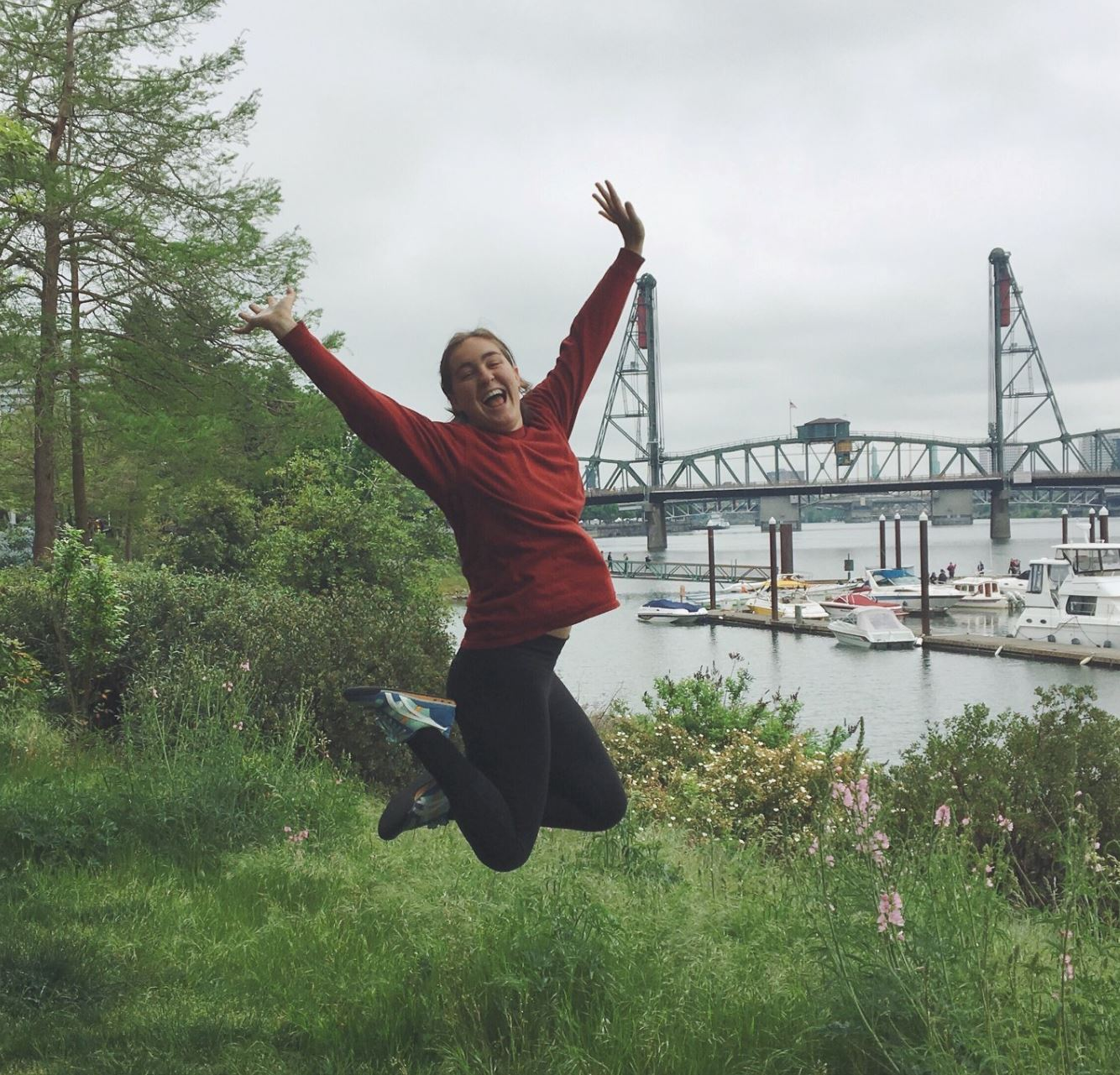 Photo of me jumping with joy in Portland, OR the day I found out I got accepted to the Peace Corps