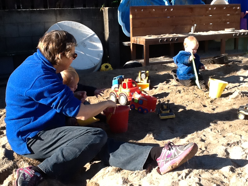 Our larger sandpit, located down in our large green playground.