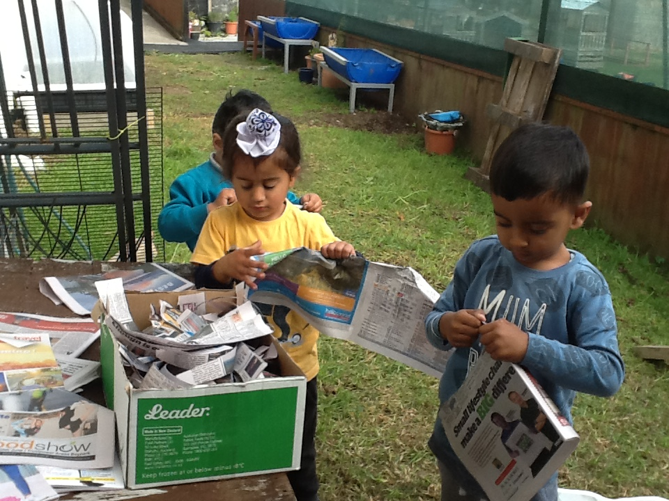 Shredding newspaper for our chickens to nest.