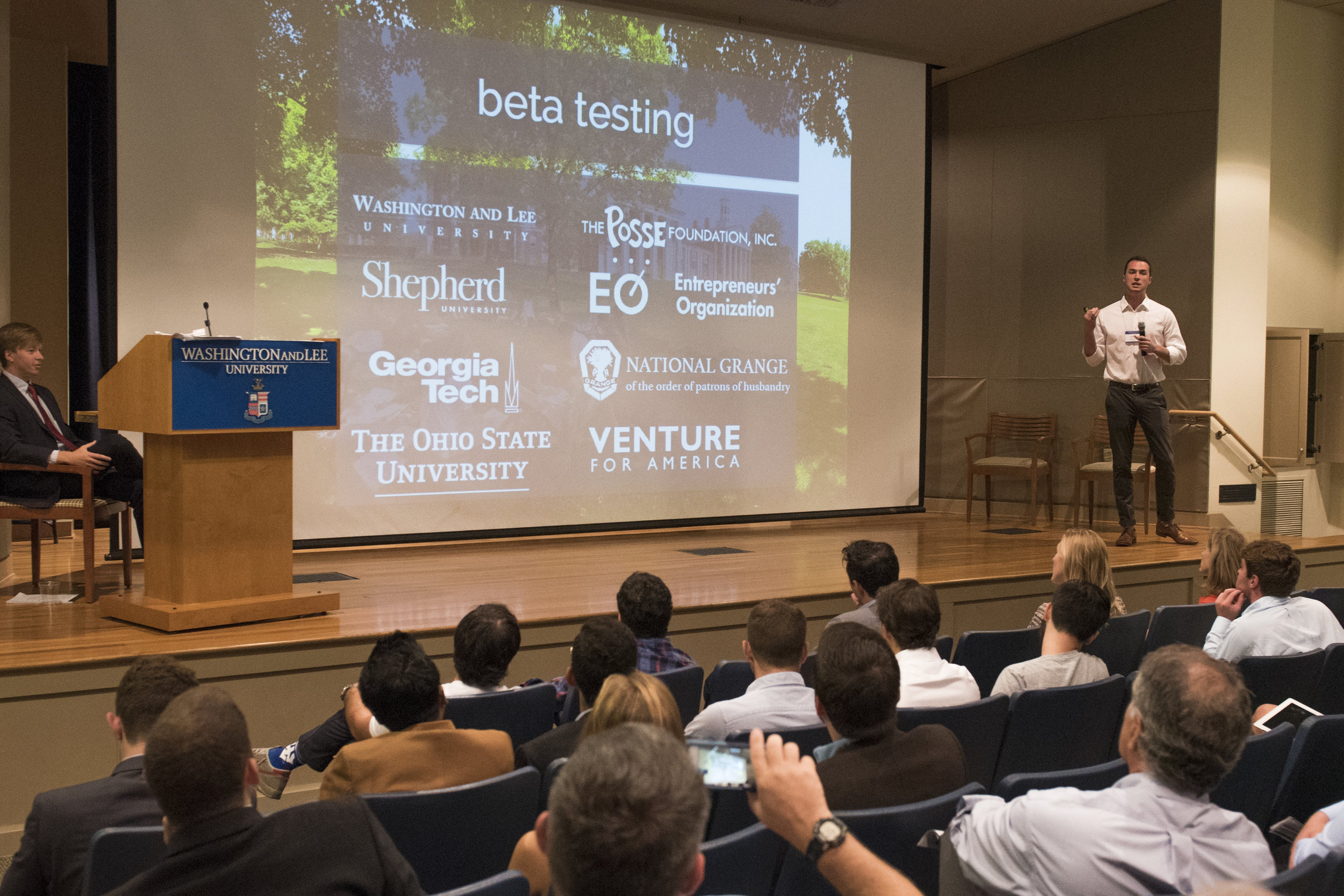 Dillon Myers '14 during an Alumni Pitch Session