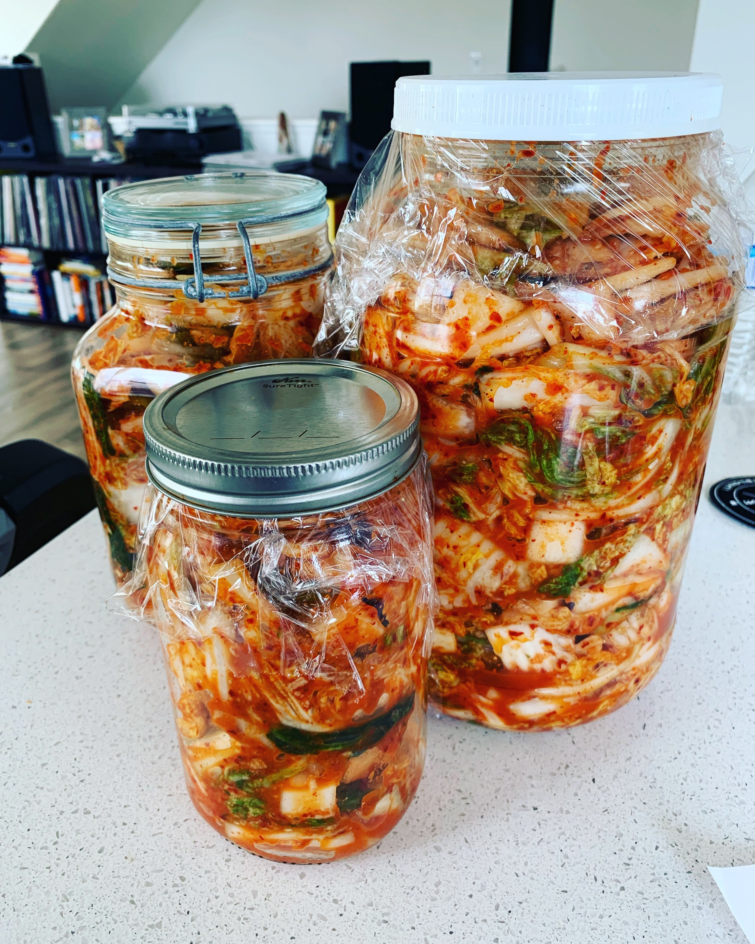 Note that when I make kimchi, I usually get 3 heads of Napa cabbage and huge daikon radish