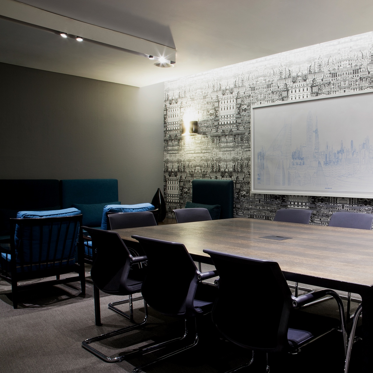 Sixth Avenue - A modern styled boardroom with an architectural backdrop and vibrant furnishings.