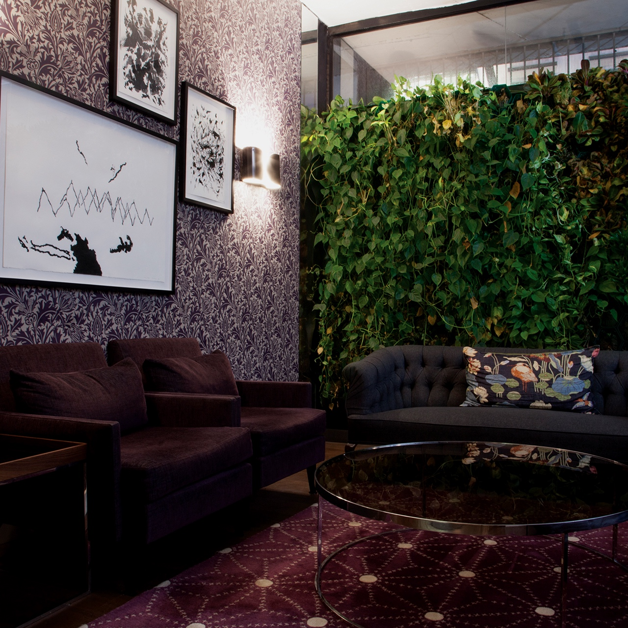 City Park Entrance 1 - Enjoy the serenity of nature in a private lounge that is set against vertical gardens, balanced by William Morris wallpaper.