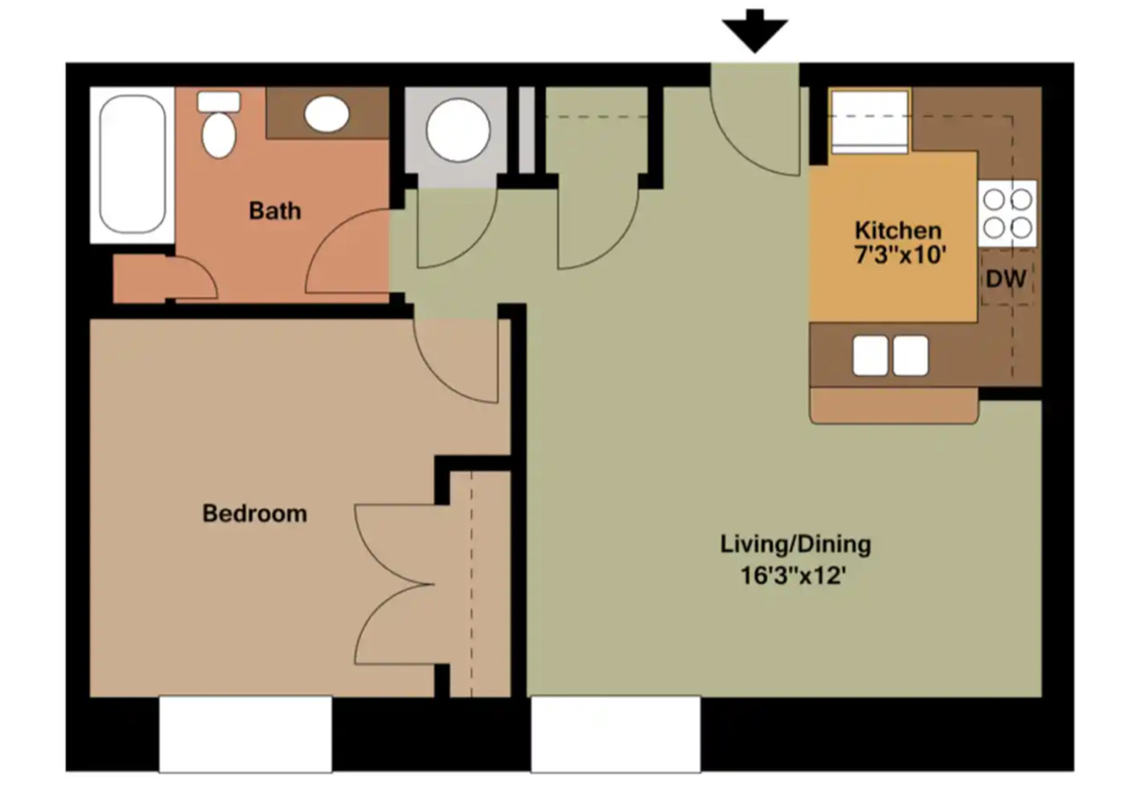 The Oxford - 598 Sq. Ft.1 Bedroom1 Bathroom