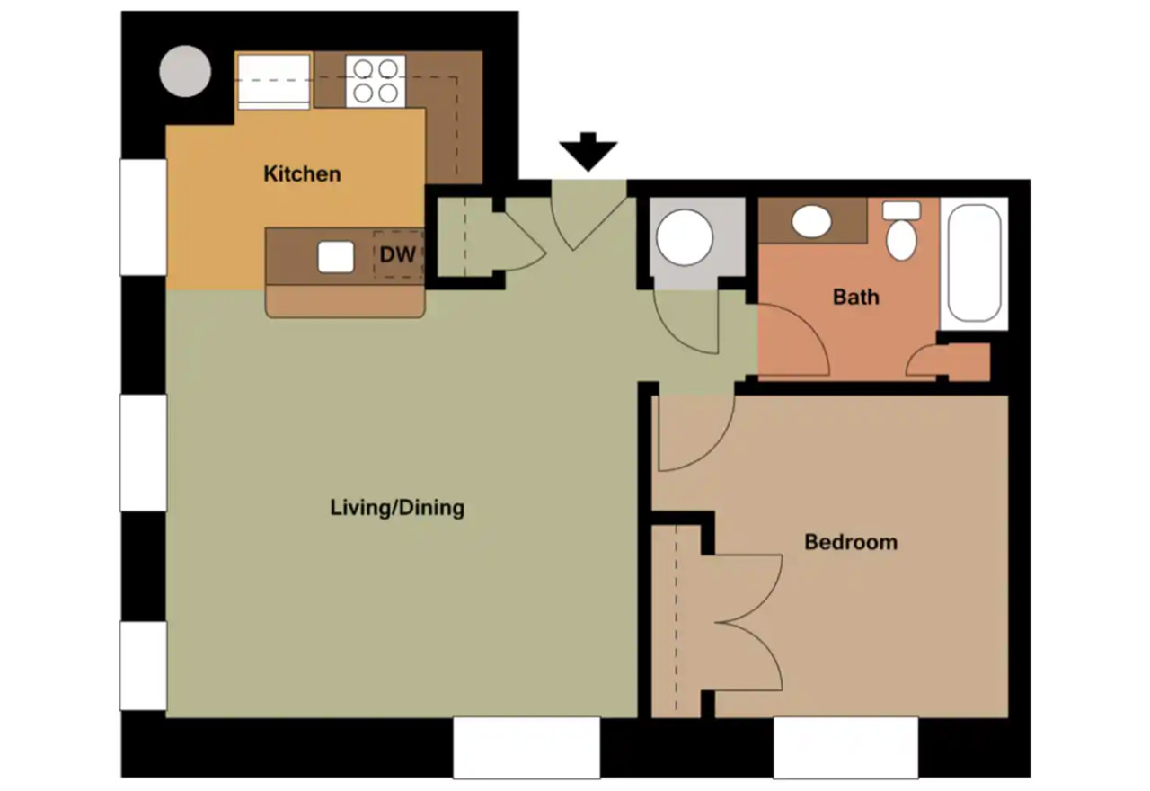 The Caterbury - 681 Sq. Ft.1 Bedroom1 Bathroom