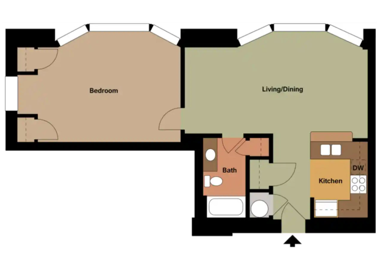 The Normandy - 808 Sq. Ft.1 Bedroom1 Bathroom