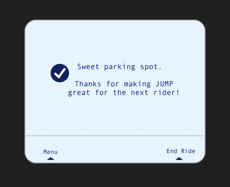 New screen #3 validates the rider's parking choice -
