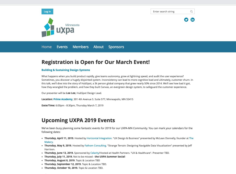 UXPA MN Homepage