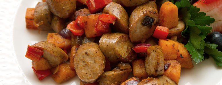 Chicken Sausage and Sweet Potato Hash