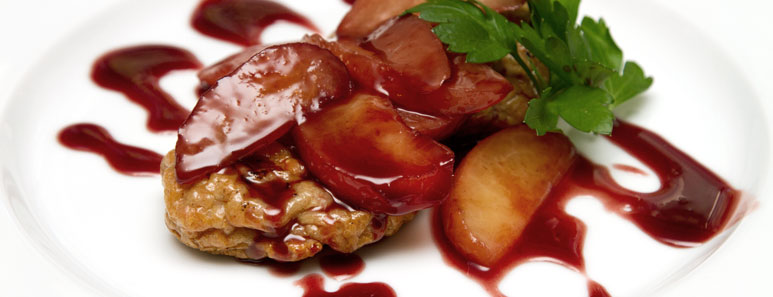 Chicken Sausage With Rye Whiskey Plums