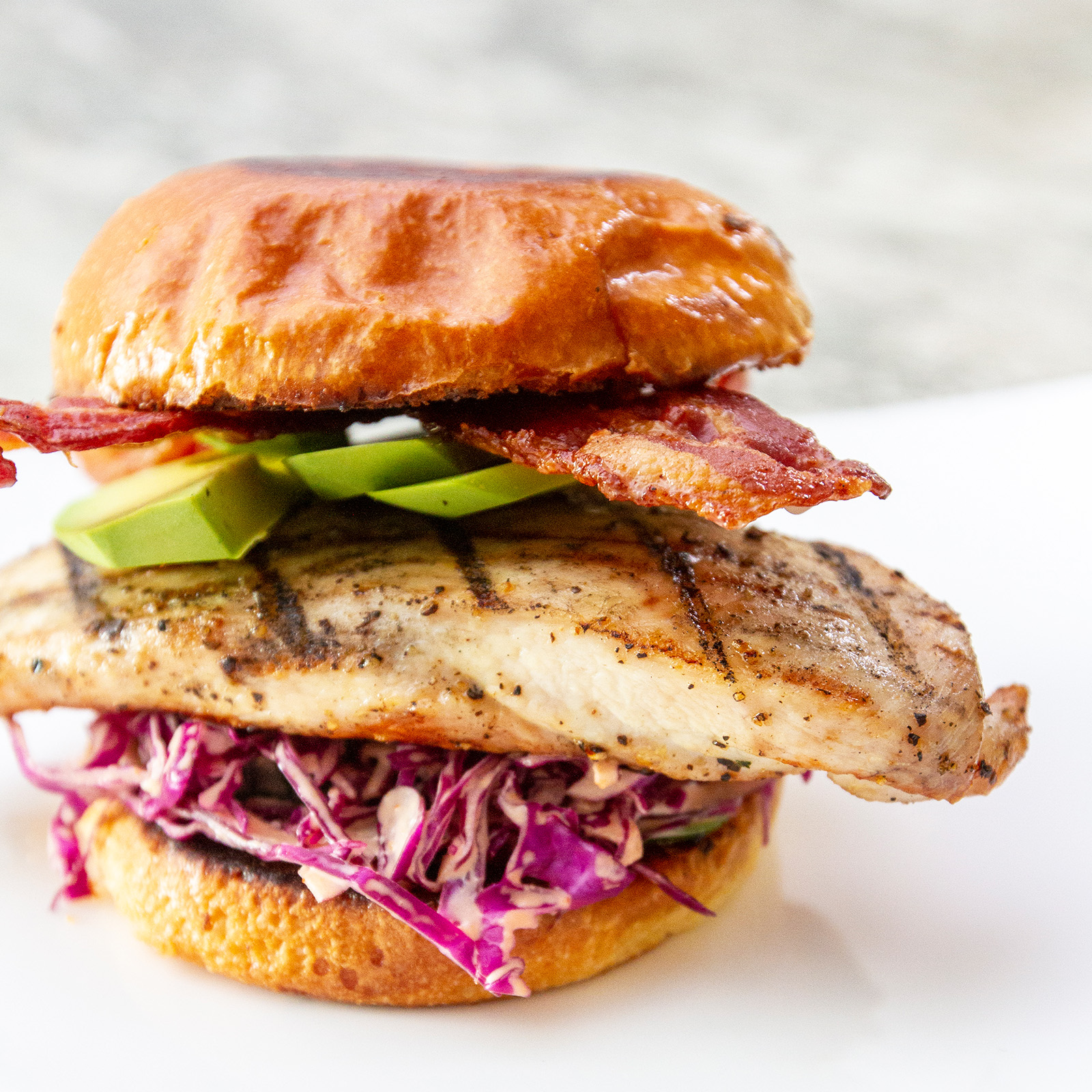 Grilled Chicken Breast Sandwich With Spicy Slaw