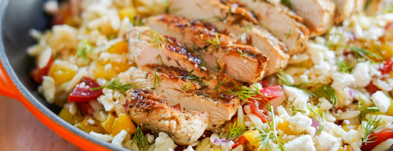 Lighter Lemon-Dill Orzo Pasta Salad With Chicken