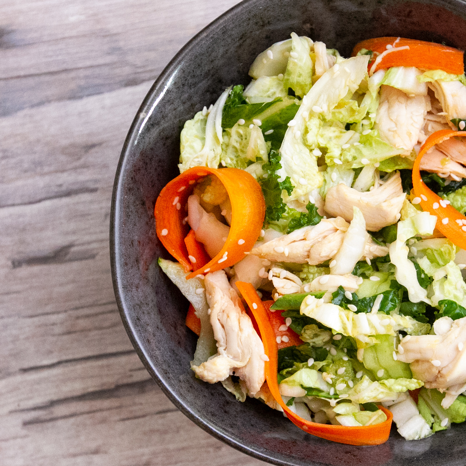 Napa Cabbage & Chicken Salad With Toasted Sesame Dressing