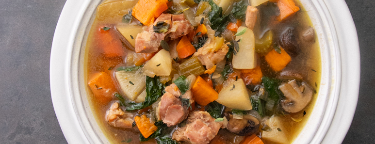 Grilled Chicken & Red Miso Soup With Root Vegetables
