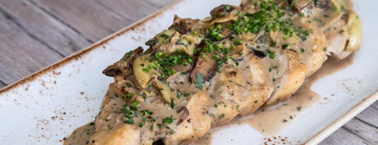 Pan-Seared Chicken With Creamy Portobellos And Artichokes