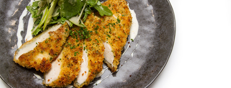 Parmesan-Crusted Chicken Breast with Fennel, Apple And Arugula Slaw