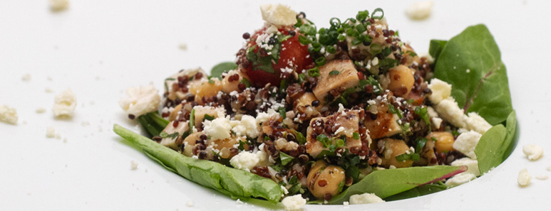 Chicken and Quinoa Salad With Feta & Baby Spinach