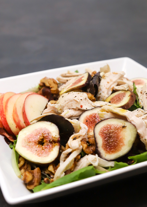 Mixed Green Salad With Figs, Walnuts and Bacon