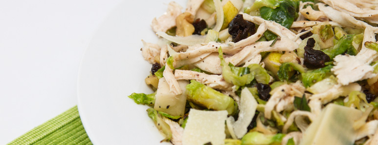 Brussels Sprout Chicken Salad With Walnuts
