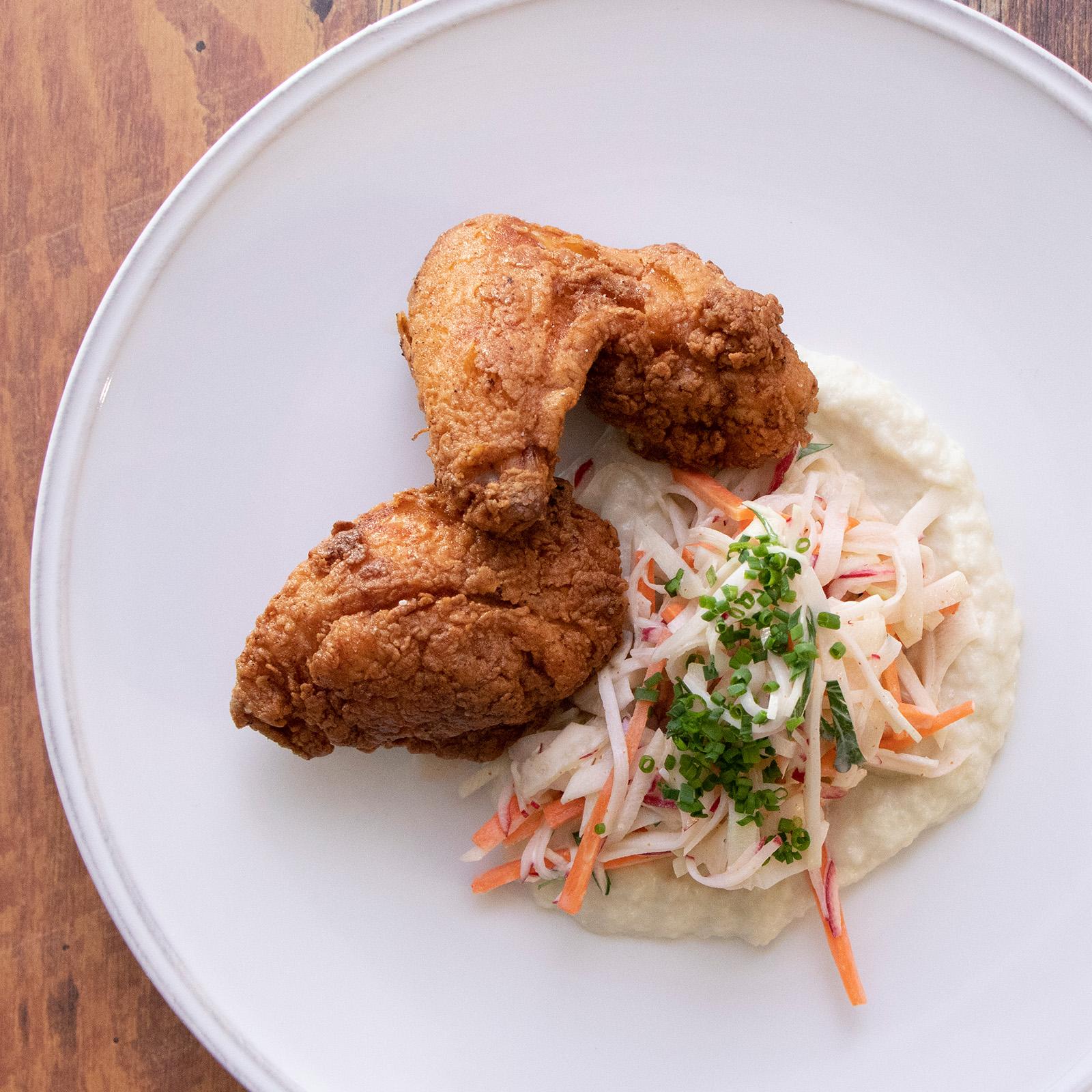 Honey Buttermilk Fried Chicken With Kohlrabi Slaw & Mashed Cauliflower