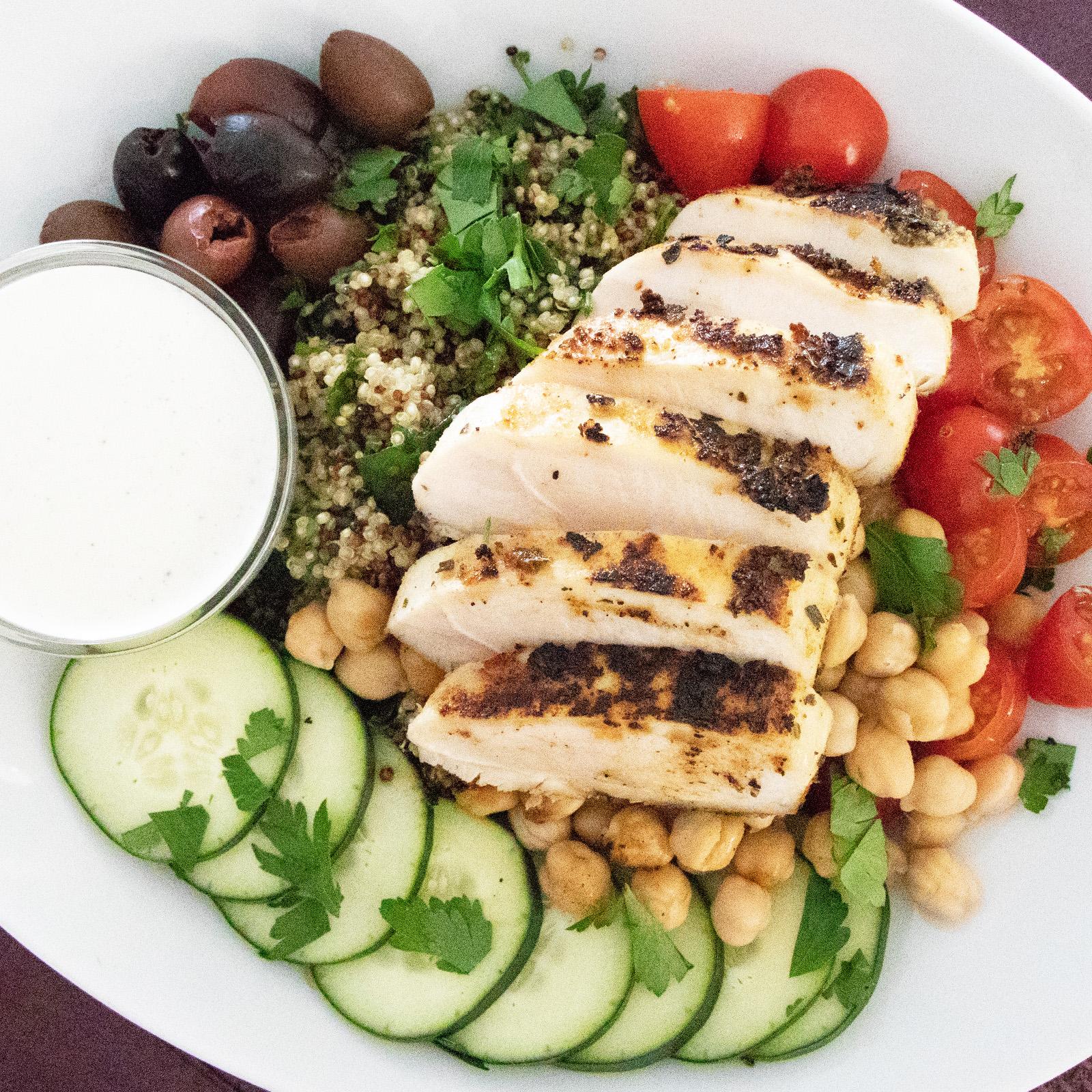 Greek Chicken Bowls With Chickpeas, Kale & Feta Sauce