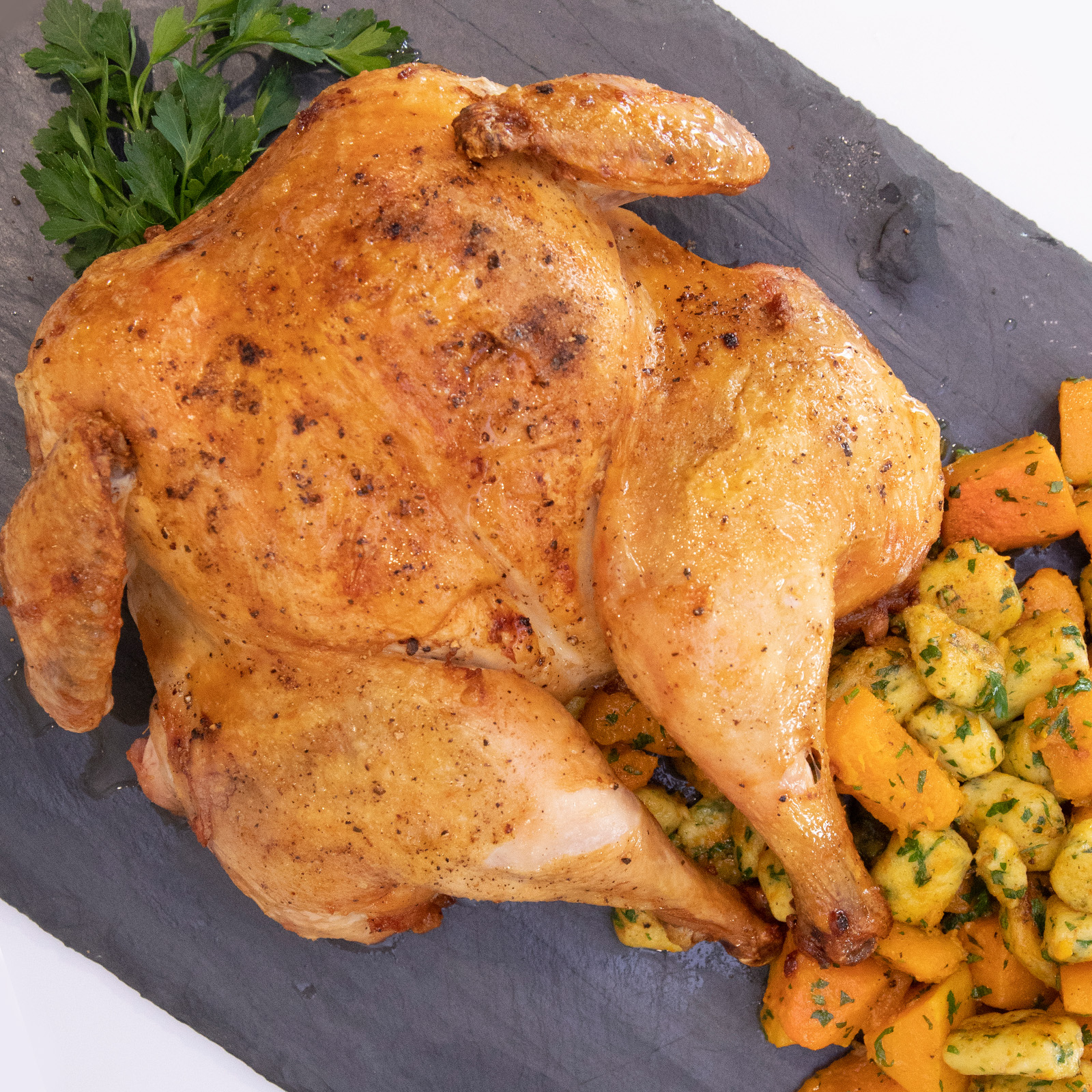 Roasted Whole Chicken With Gluten-Free Parisian Gnocchi & Roasted Winter Squash