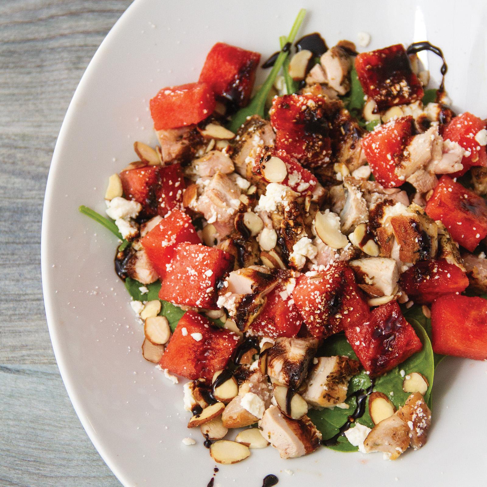 Balsamic Watermelon Chicken Salad