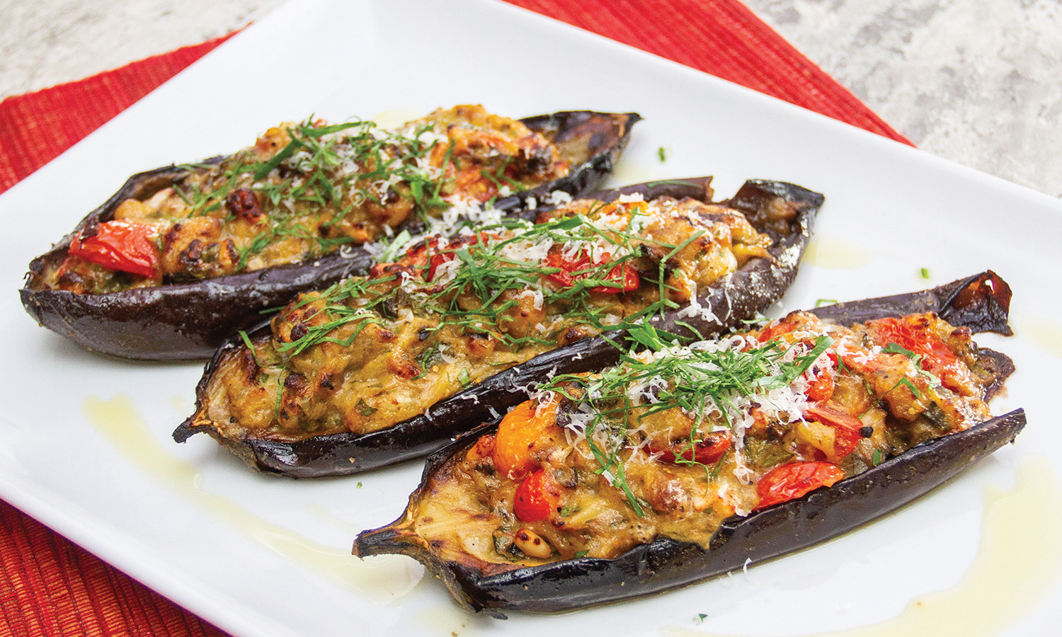 Chicken, Tomato and Herb-Stuffed Eggplant