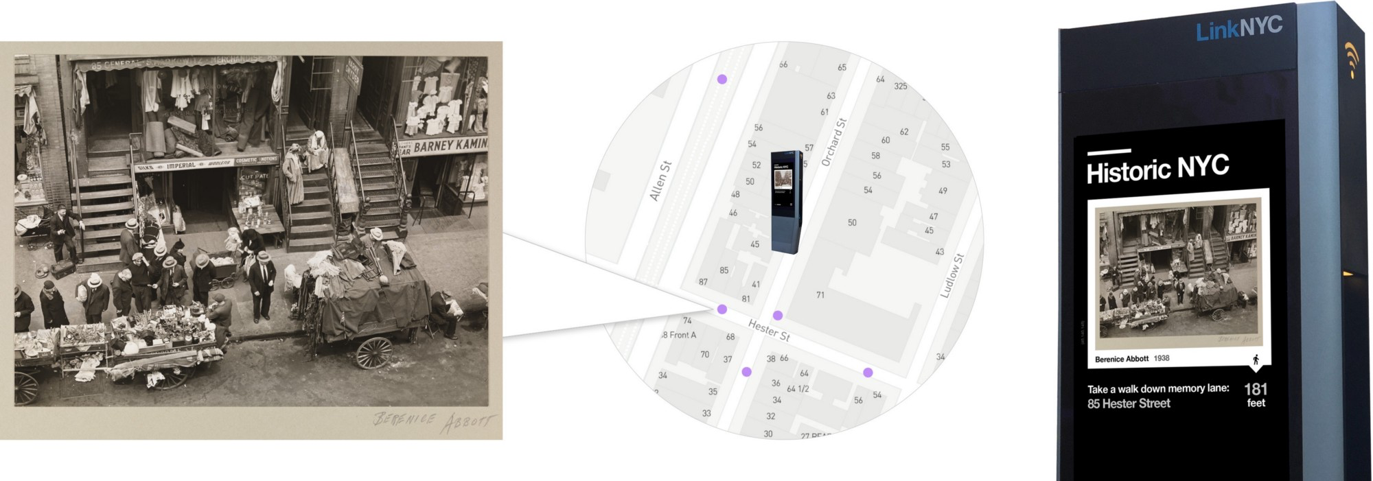 Using this collection data, we are able to map historical images (like this picture of    85 Hester Street    sourced from Museum of the City of New York) and then send them to nearby    LinkNYC kiosks    in proximity to the location of capture.