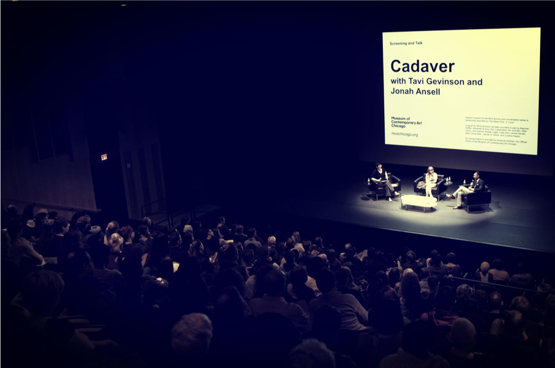 Jonah Ansell with Tavi Gevinson at the 2013 book launch of Cadaver, at the Museum of Contemporary Art in Chicago, IL