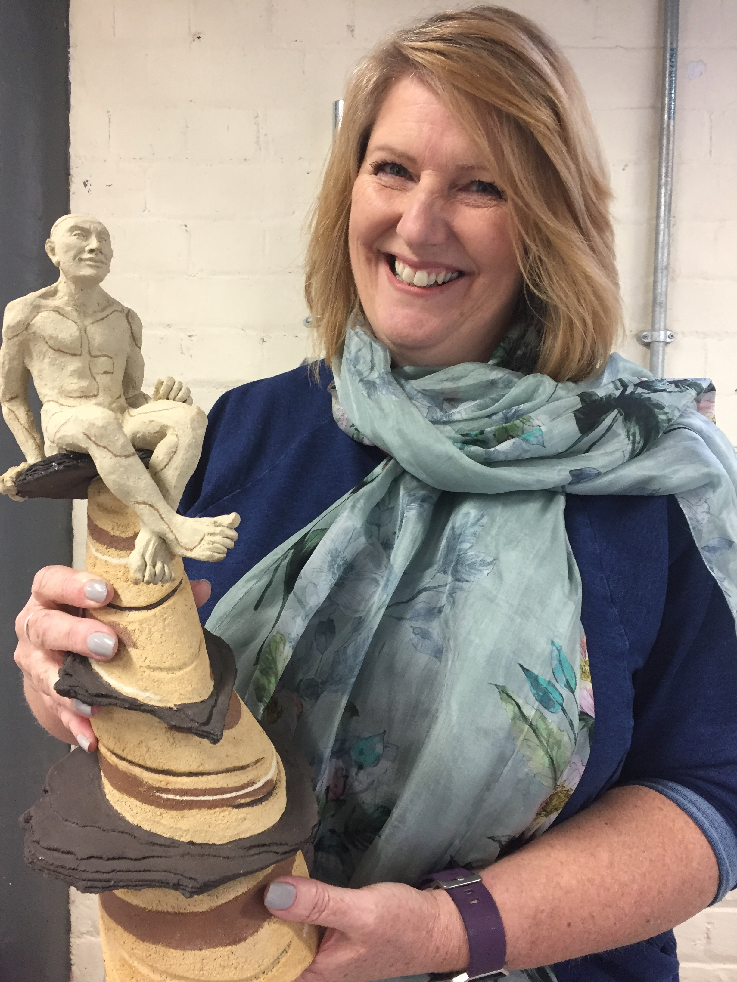 Bev in The Pottery with one of her many sculptures