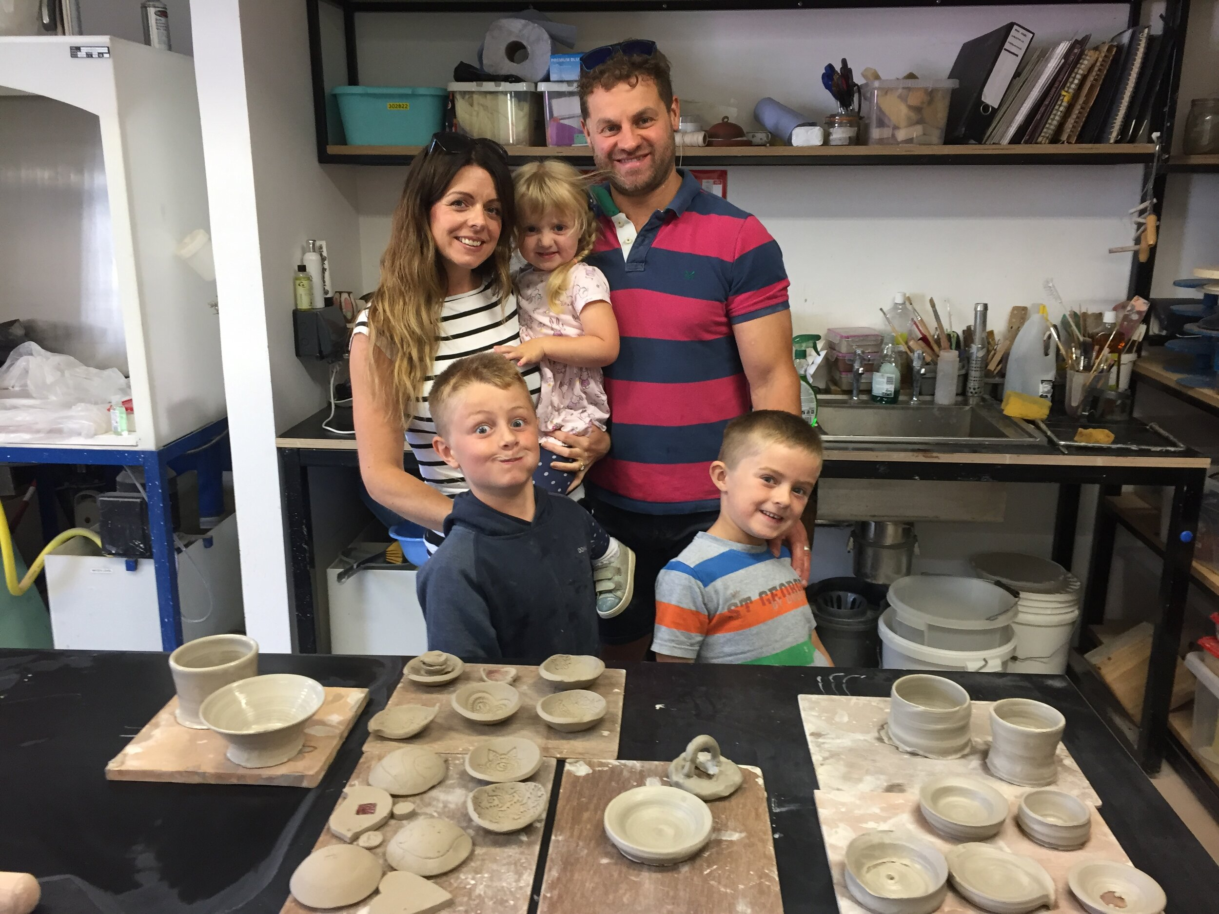 Family workshops - Create beautiful memories through a team project. This bespoke 2 hour workshop will give each family member an opportunity to explore the wheel as well as making hand formed items.No previous experience needed. All work will be fired and glazed. Cost of workshop £50