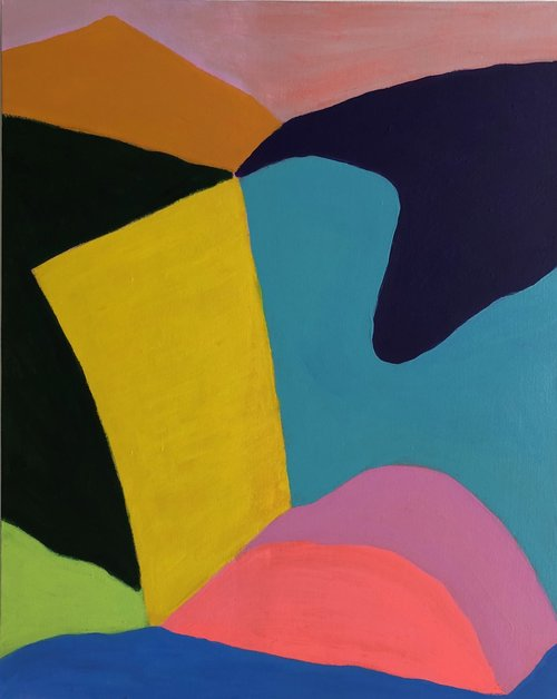 George Singer, Pink Rock, acrylic on canvas, 40 x 30 in $3200