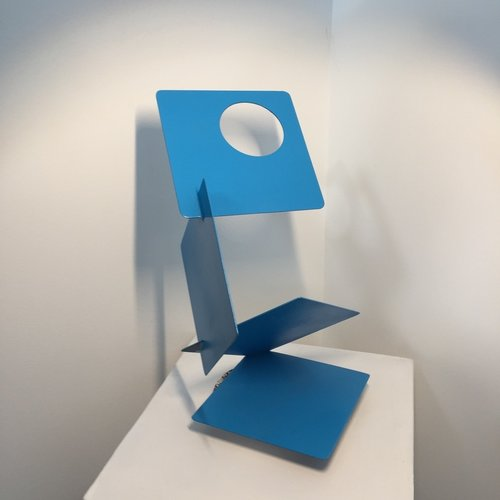 Dennis Leri, Blue Squares, painted welded steel, 16 x 6 in  SOLD