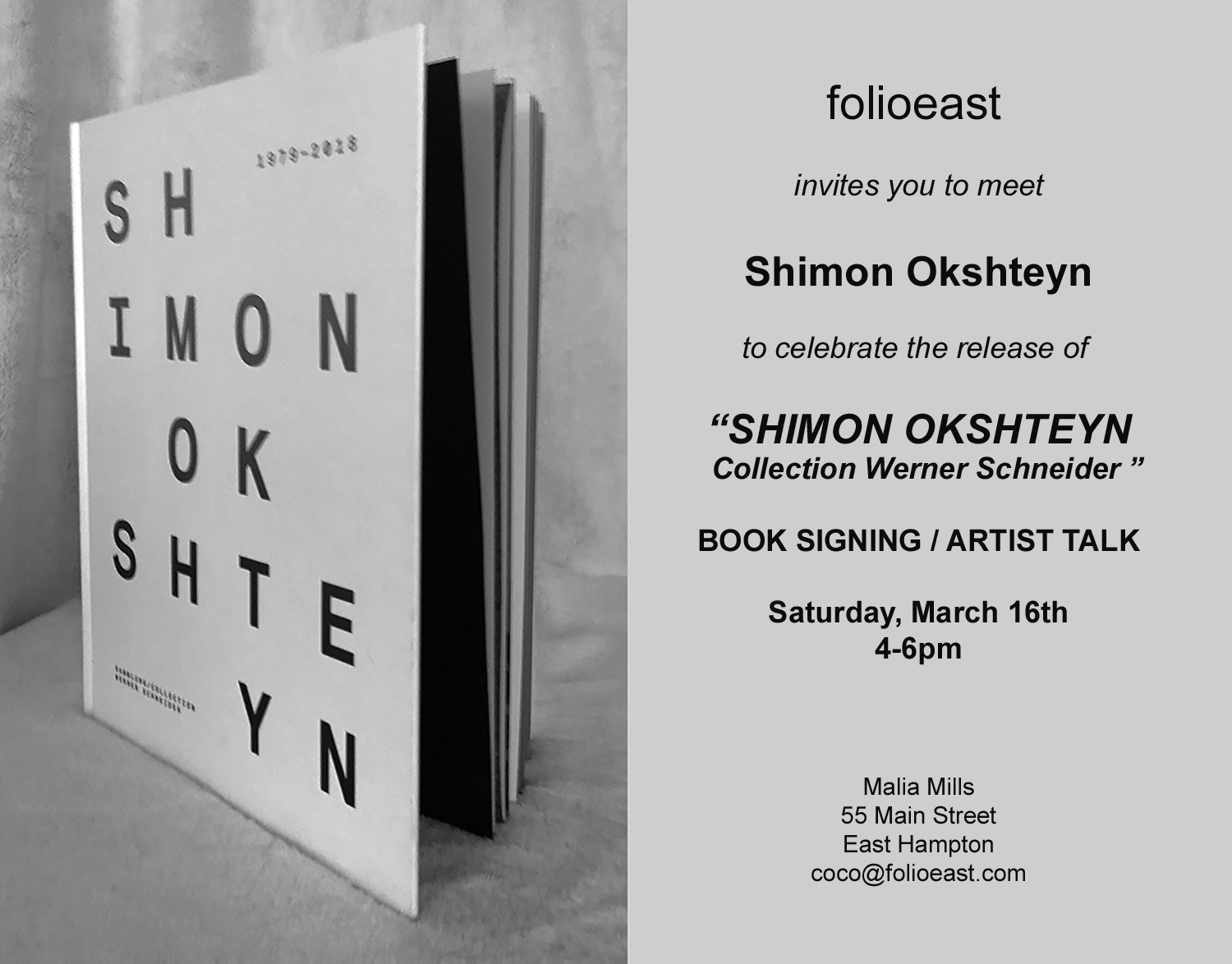 "Book Signing / Artist Talk ""Shimon Okshteyn Collection Werner Schneider"""