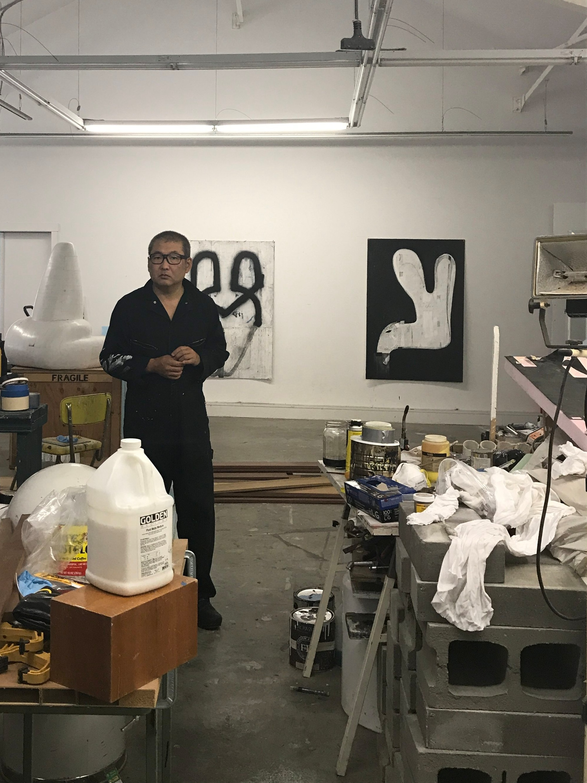 Hamada in his studio