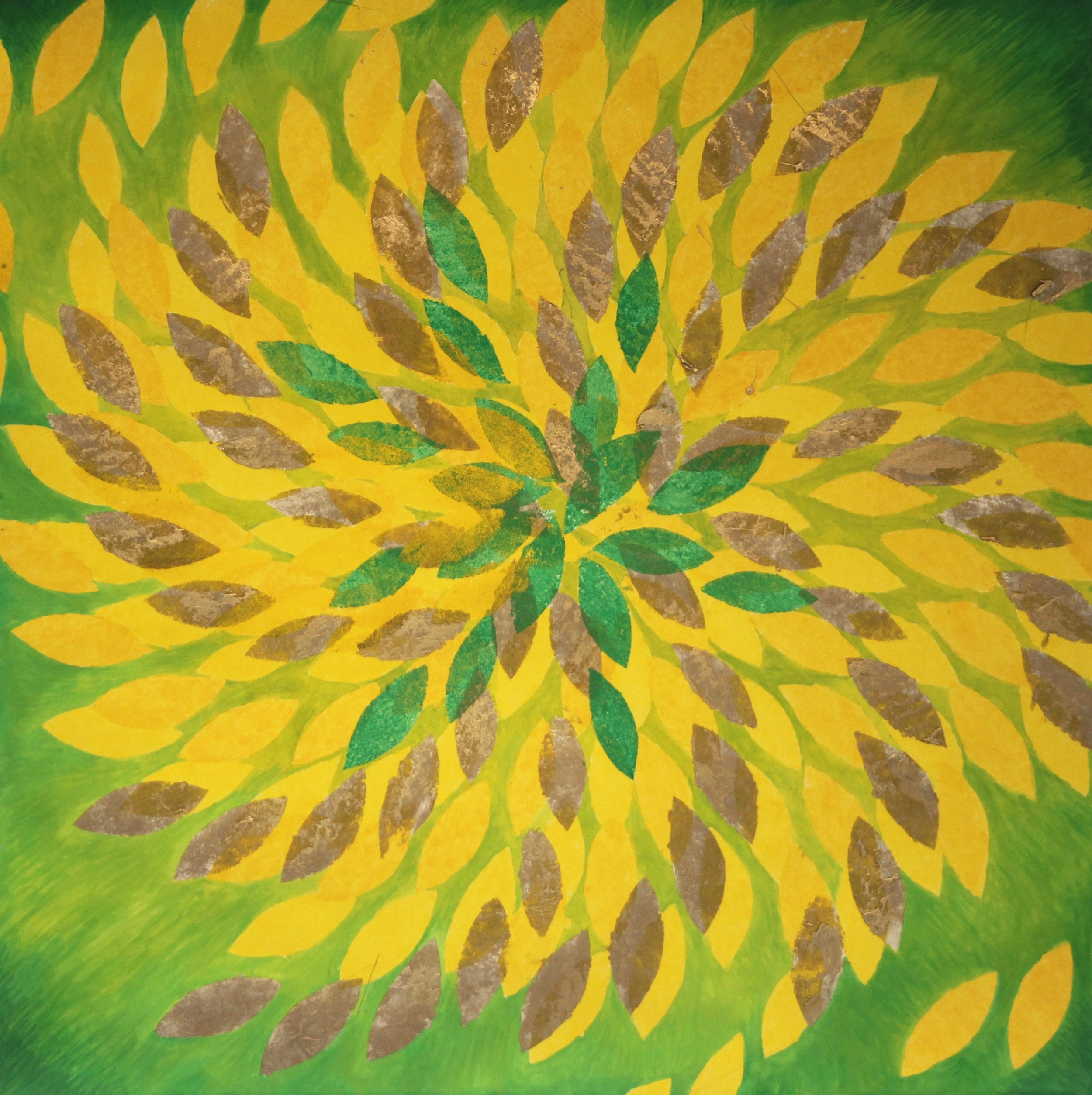 Sunflower 1 by Barbara Thomas,  mixed media on paper, 22 x 22 in, $1,800