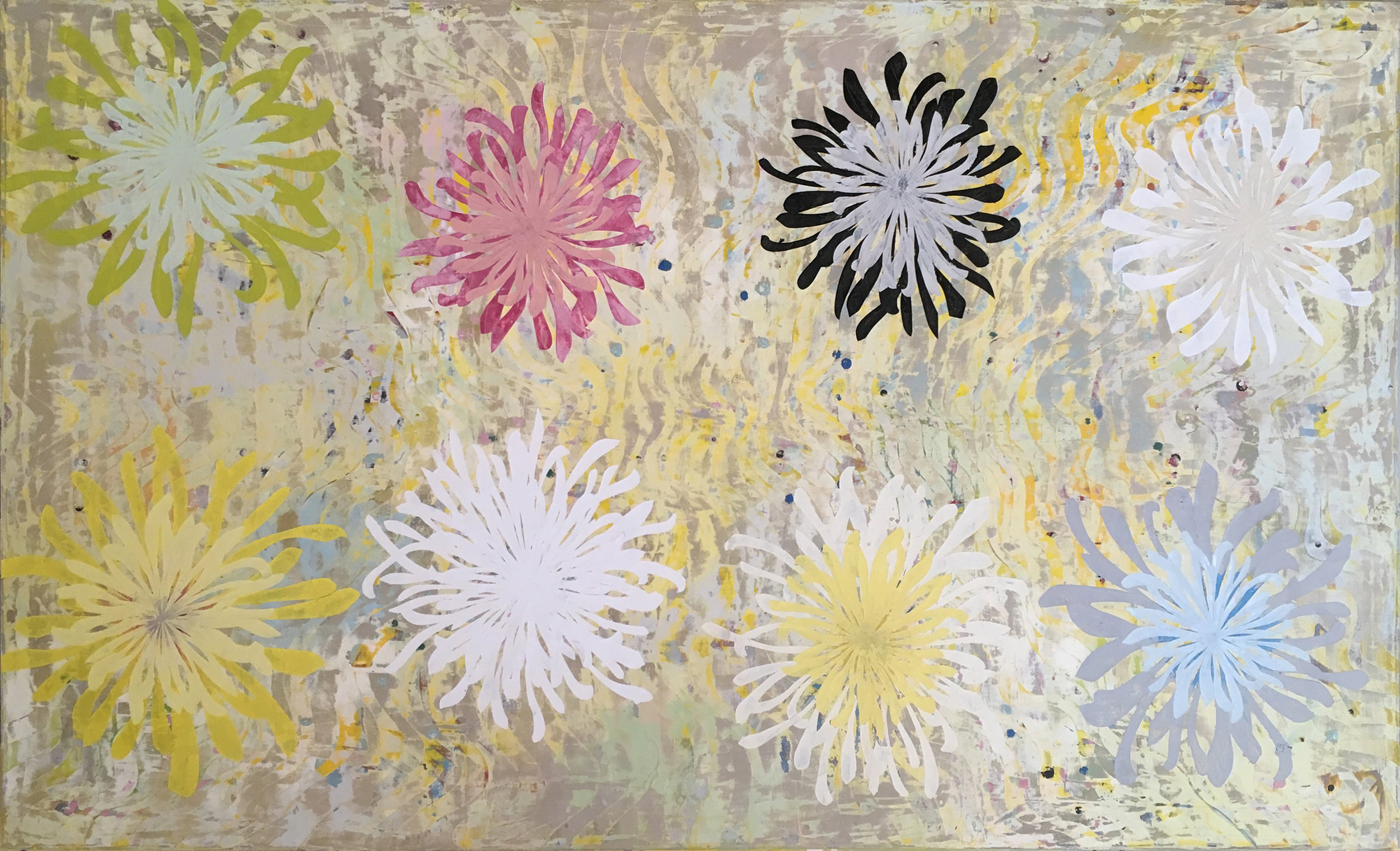 Chrysanthemum Tapestry by Perry Burns, 2018, oil on canvas, 51 x 84 in,  $15,500