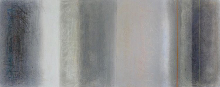 Crossings Diptych, 2017, pastel on paper, 18 x 46 in, $3,200