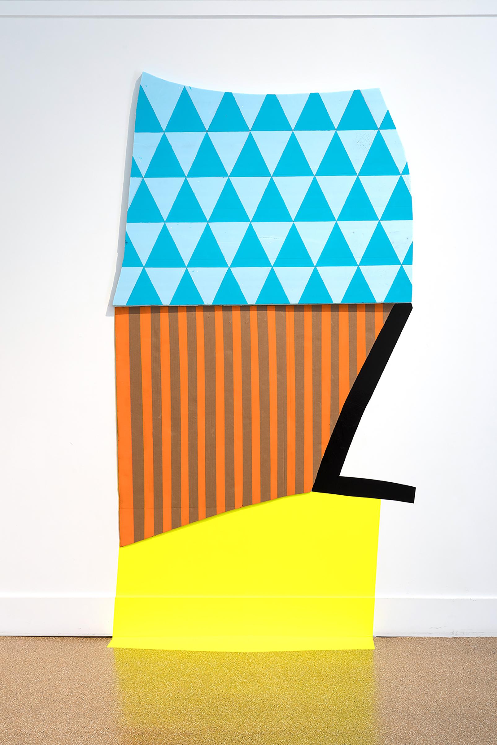 Stripes and Triangles, 2018, foam, cardboard, vinyl, acrylic, 96 x 54 x 2 in, $4,000