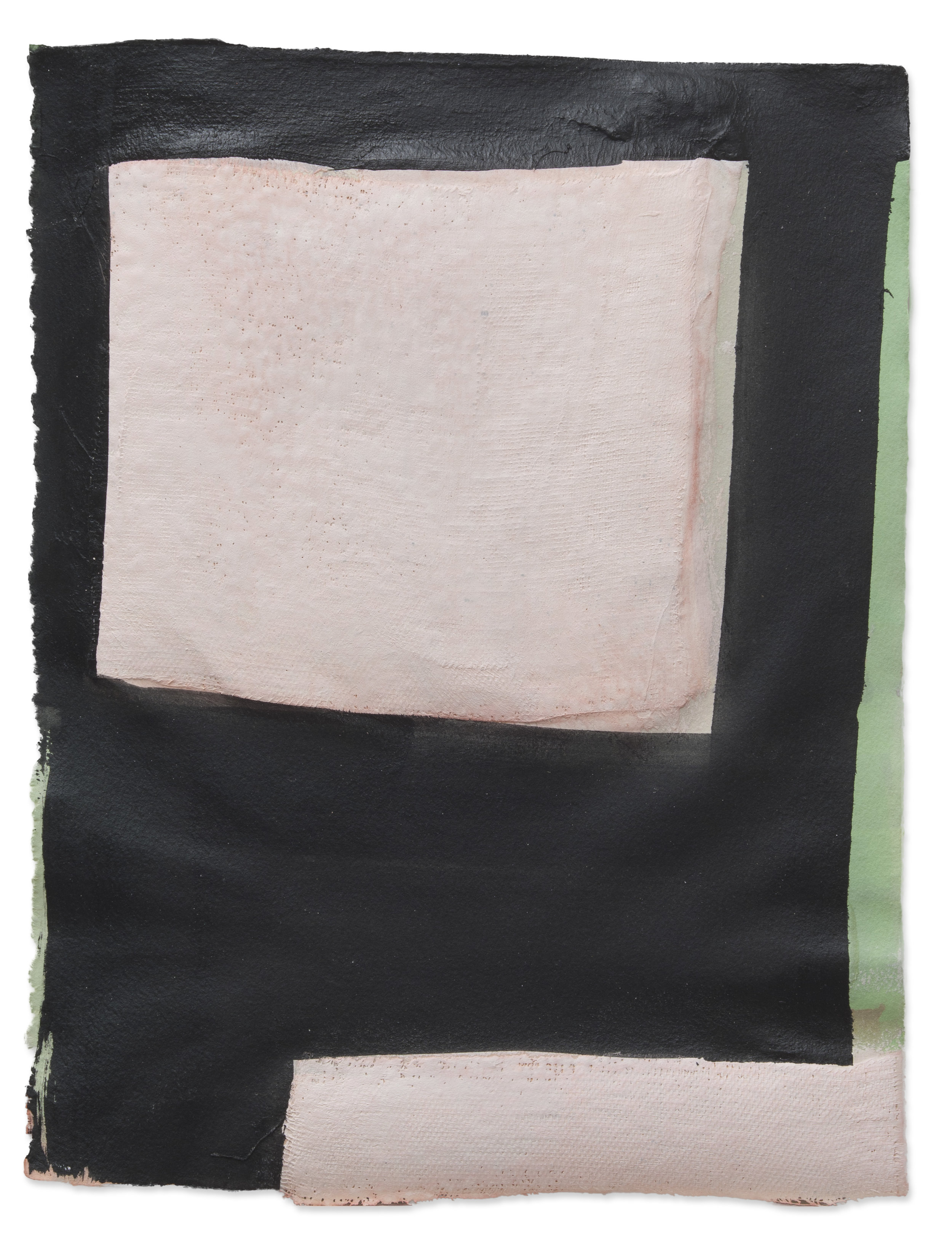 Pink Squared, 2018, plaster, paint on paper, 14 x 18 in, $2,000
