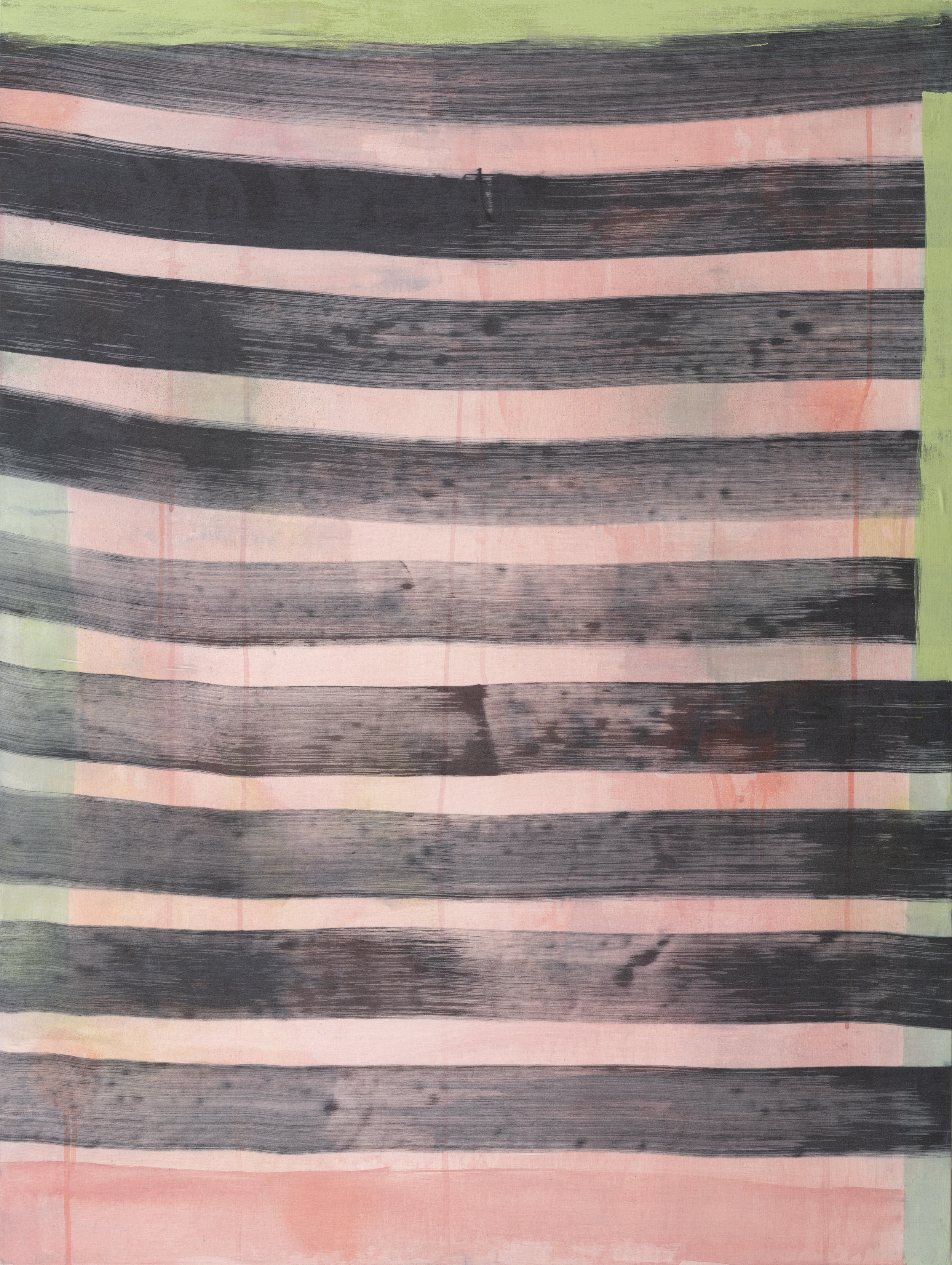 Stripes 1, 2018, acrylic, silk, dye on wood, 30 x 40 in, $,6000