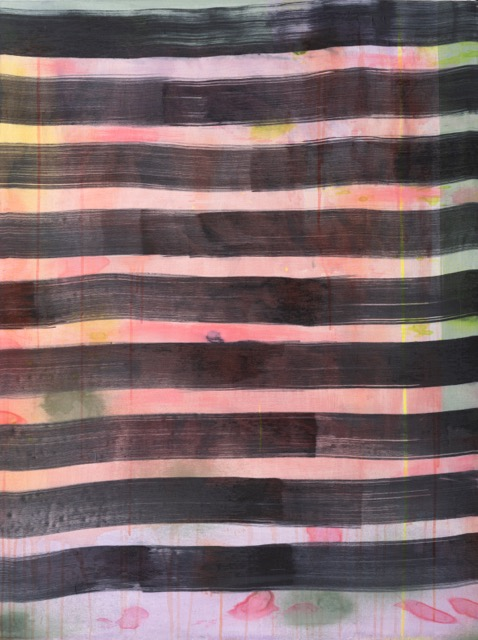 Stripes 2, acrylic, silk, dye on wood, 30 x 40 in, $6,000